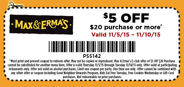 Max & Ermas Coupon October 2018 $5 off $20 at Max & Ermas restaurants