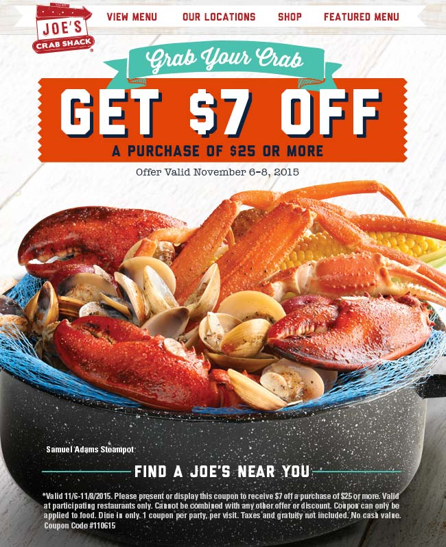 Joes Crab Shack Coupon November 2017 $7 off $25 at Joes Crab Shack restaurants