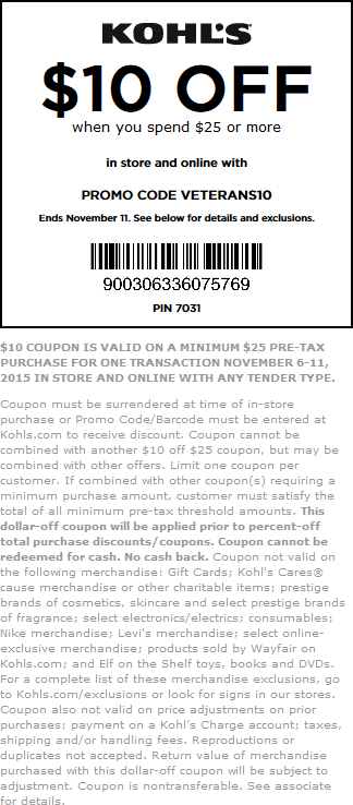 Kohls Coupon June 2018 $10 off $25 at Kohls, or online via promo code VETERANS10