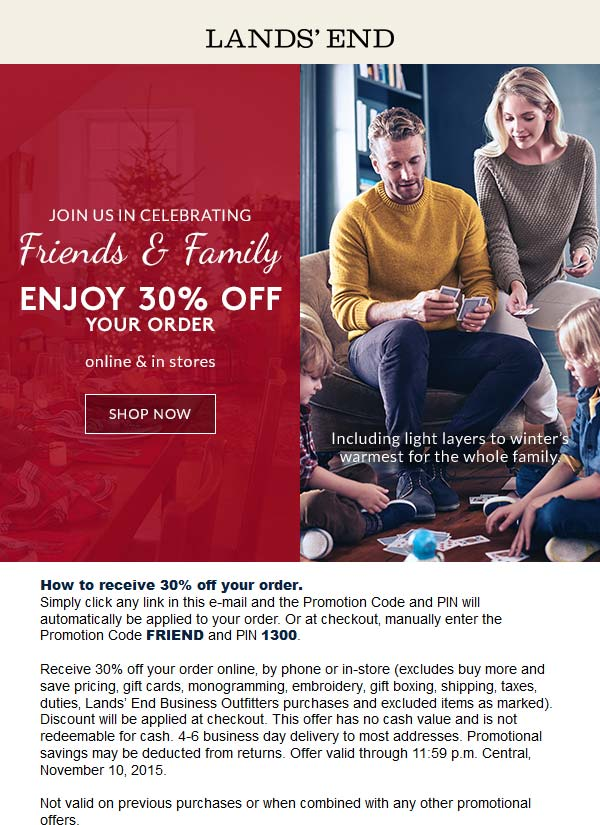 Lands End Coupon October 2016 30% off at Lands End, or online via promo code FRIEND and pin 1300