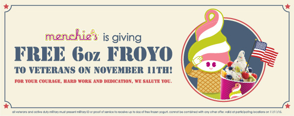 Menchies Coupon August 2017 6oz froyo free for veterans Wednesday at Menchies