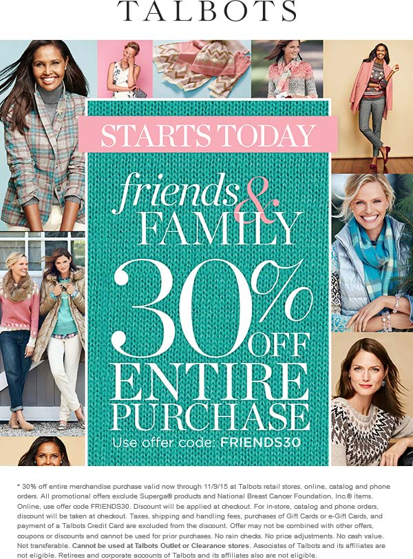 Talbots Coupon January 2018 30% off at Talbots, or online via promo code FRIENDS30