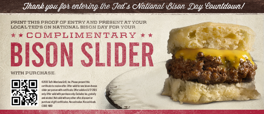 Teds Montana Grill Coupon May 2017 Free bison slider with your order Saturday at Teds Montana Grill