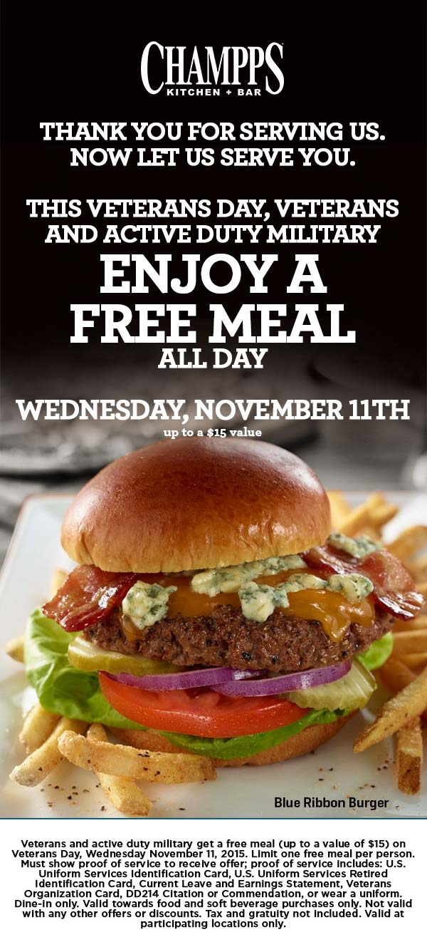 Champps Coupon May 2018 Military enjoy a free meal Wednesday at Champps