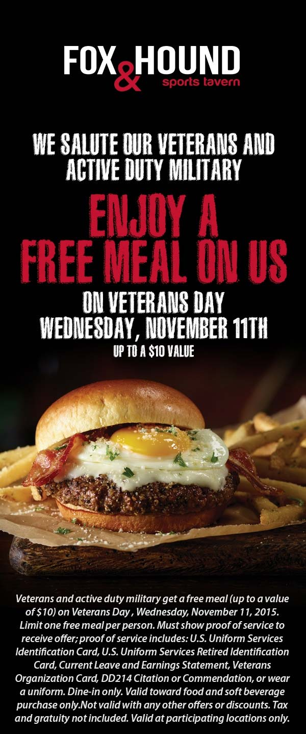 Fox & Hound Coupon September 2017 $10 meal free for military Wednesday at Fox & Hound sports tavern