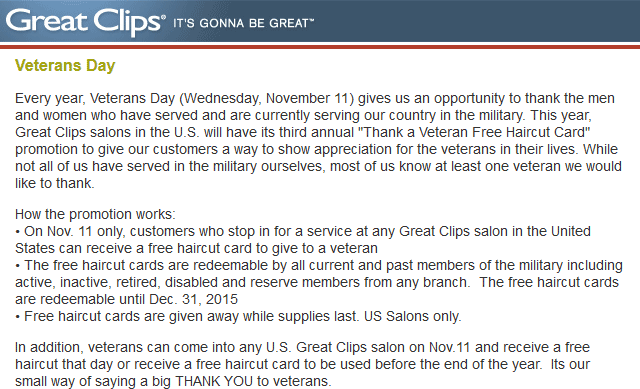 Great Clips Coupon October 2016 Veterans enjoy a free haircut Wednesday at Great Clips