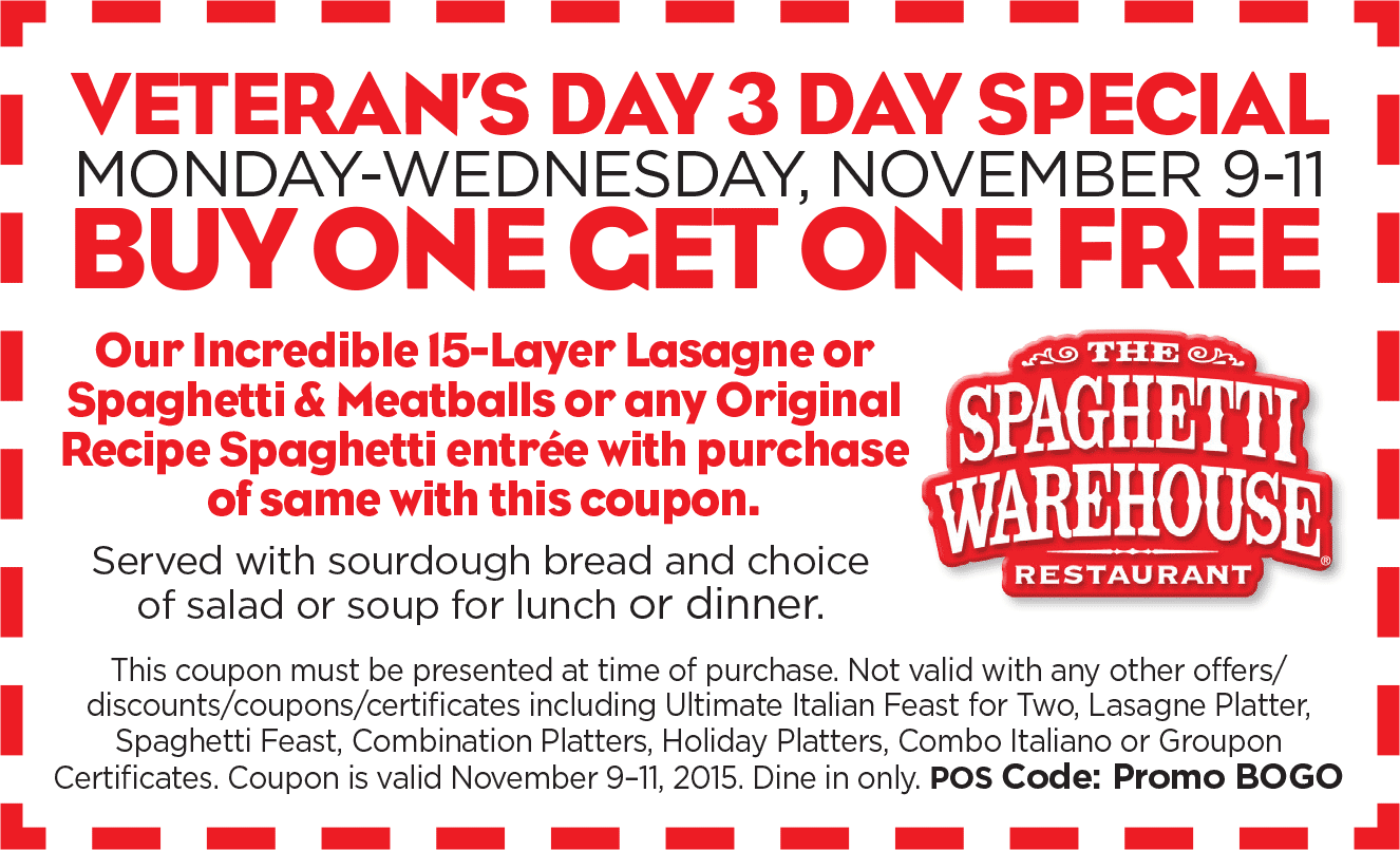 Spaghetti Warehouse Coupon December 2017 Second lasagna or spaghetti & meatballs meal free at Spaghetti Warehouse