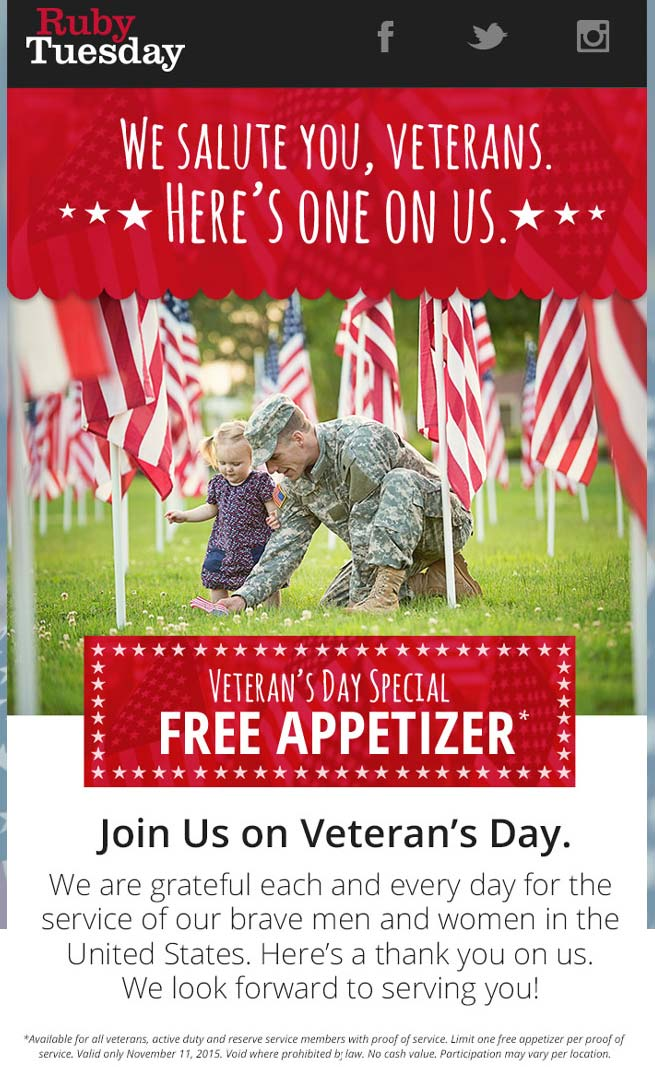RubyTuesday.com Promo Coupon Veterans enjoy a free appetizer Wednesday at Ruby Tuesday