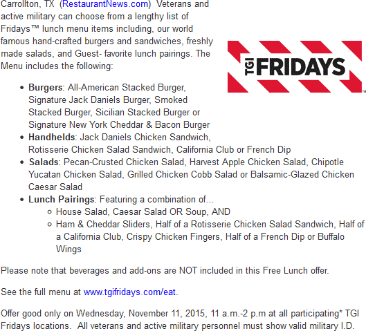 TGI Fridays Coupon December 2018 Free lunch for military Wednesday at TGI Fridays