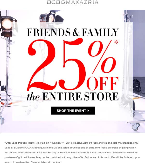 BCBG Coupon February 2017 25% off everything at BCBGMaxazria, ditto online