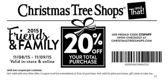 Christmas Tree Shops Coupon January 2018 20% off today at Christmas Tree Shops, or online via promo code CTSFNFP
