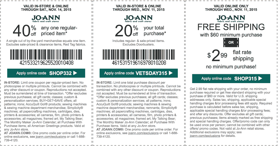 Jo-Ann Fabric Coupon September 2018 20% off everything, 40% off a single item at Jo-Ann Fabric, or online via promo code SHOP332