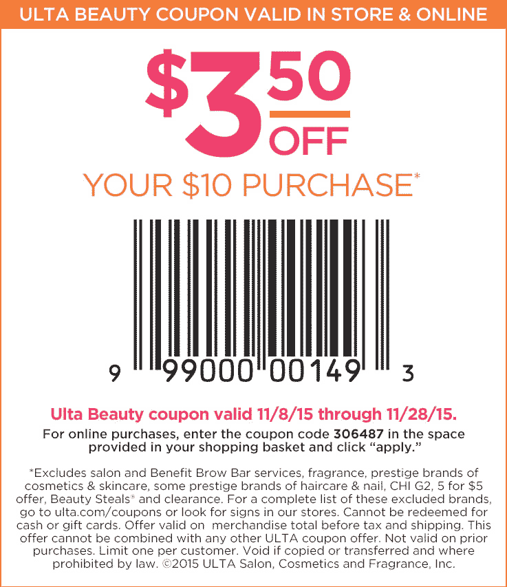 Ulta Coupon March 2017 $3 off $10 at Ulta Beauty, or online via promo code 306487