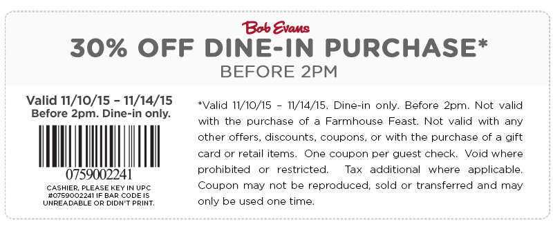 Bob Evans Coupon July 2017 30% off before 2pm at Bob Evans restaurants