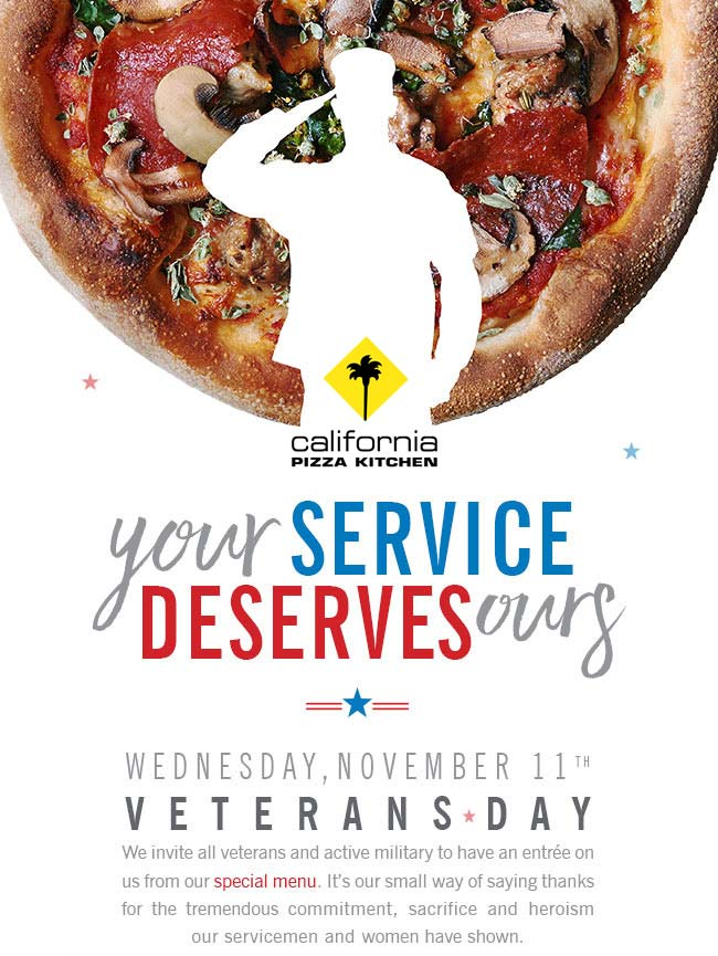 California Pizza Kitchen Coupon April 2019 Military enjoy a free entree Wednesday at California Pizza Kitchen