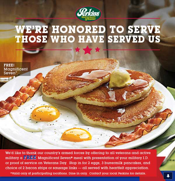 Perkins Coupon June 2017 7pc breakfast free for military Wednesday at Perkins restaurants
