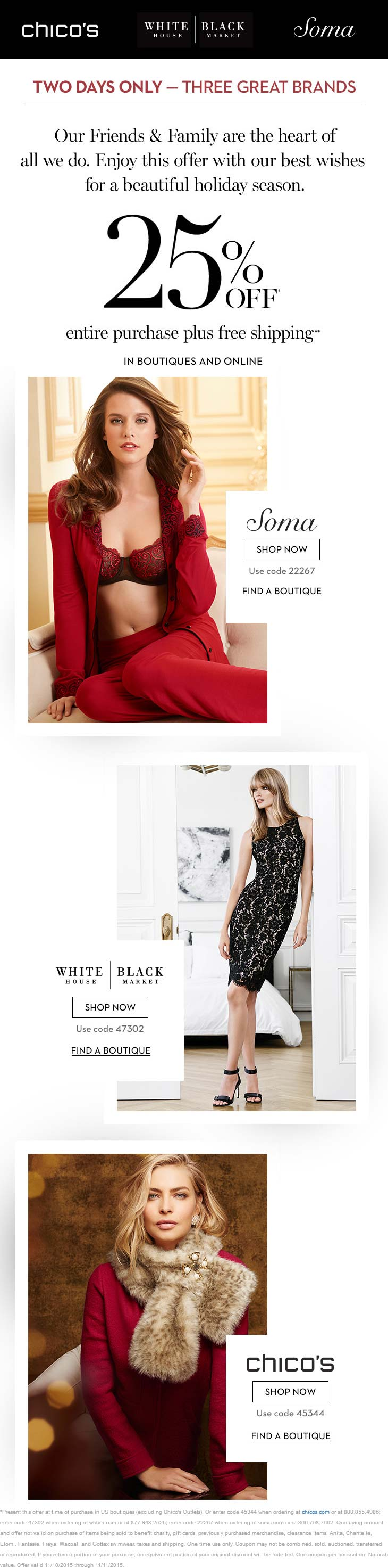 Chicos Coupon December 2018 25% off at Chicos, White House Black Market & Soma, also online