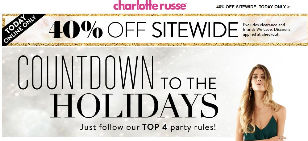 Charlotte Russe Coupon April 2018 40% off online today at Charlotte Russe