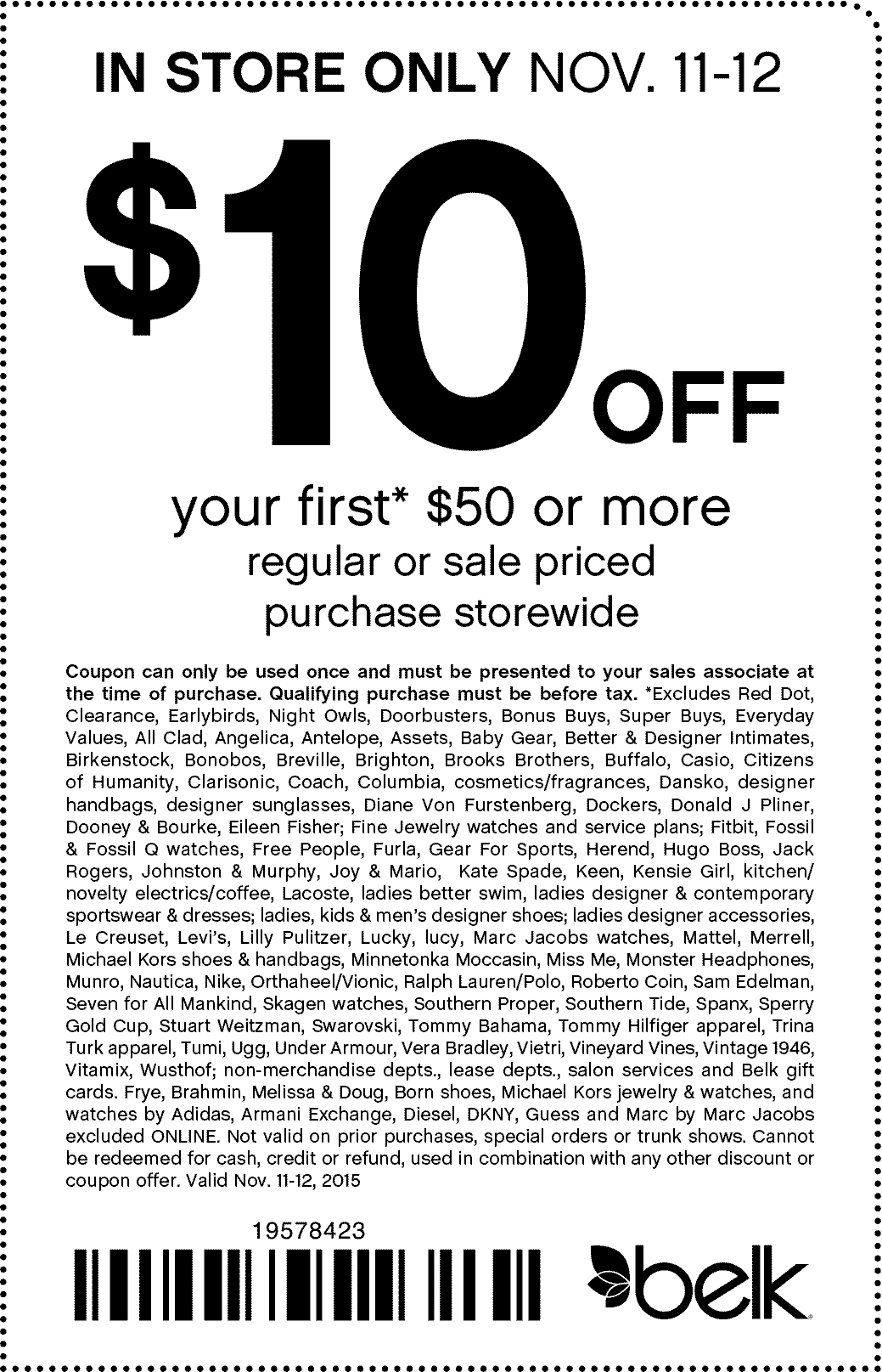 Belk Coupon August 2017 $10 off $50 at Belk, or 20% off online via promo code 56777015