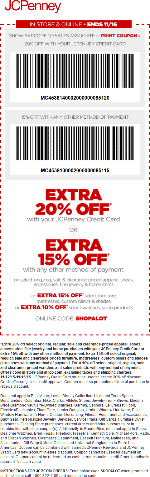 JCPenney Coupon January 2018 Extra 15% off at JCPenney, or online via promo code SHOPALOT
