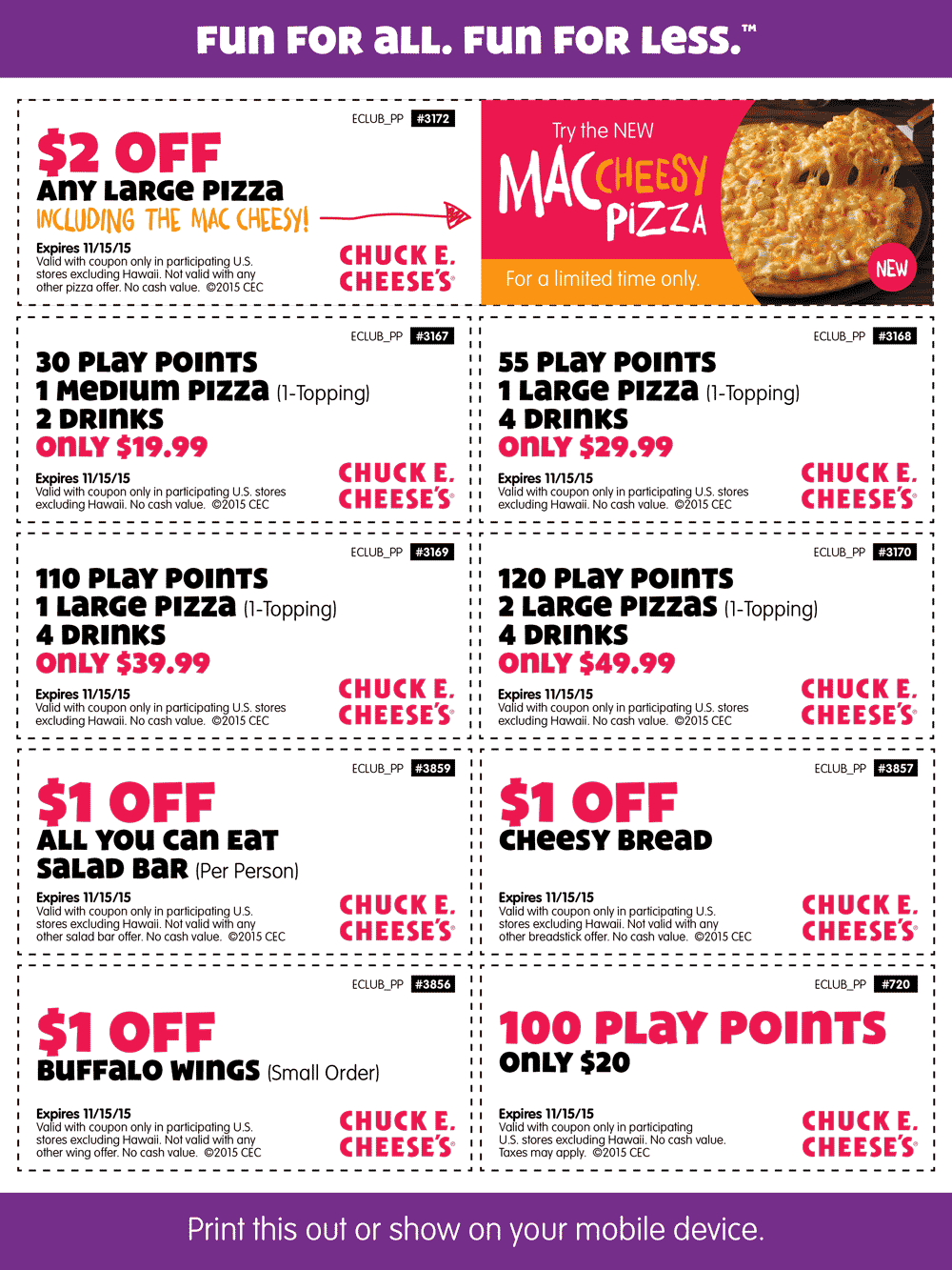 Chuck E Cheese Coupon January 2017 30 tokens + medium pizza + 2 drinks for $20 & more at Chuck E. Cheese