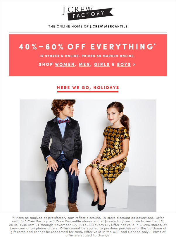 J.Crew Factory Coupon March 2017 Everything is 40-60% off at J.Crew Factory, ditto online