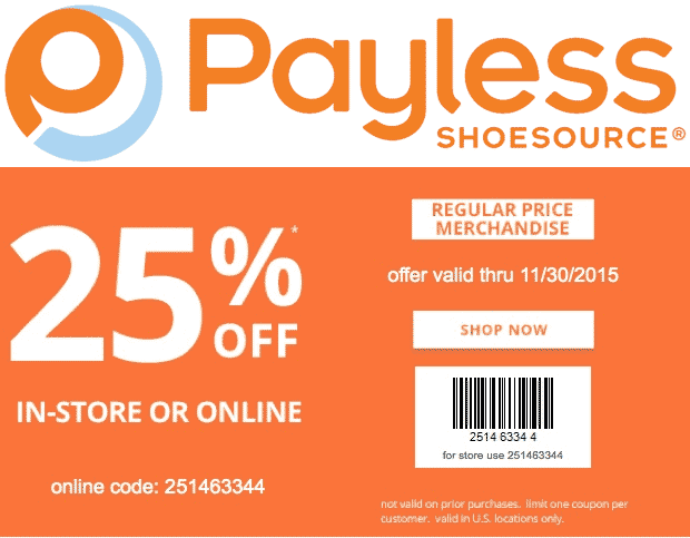 Payless Shoesource Coupon May 2017 25% off at Payless Shoesource, or online via promo code 251463344