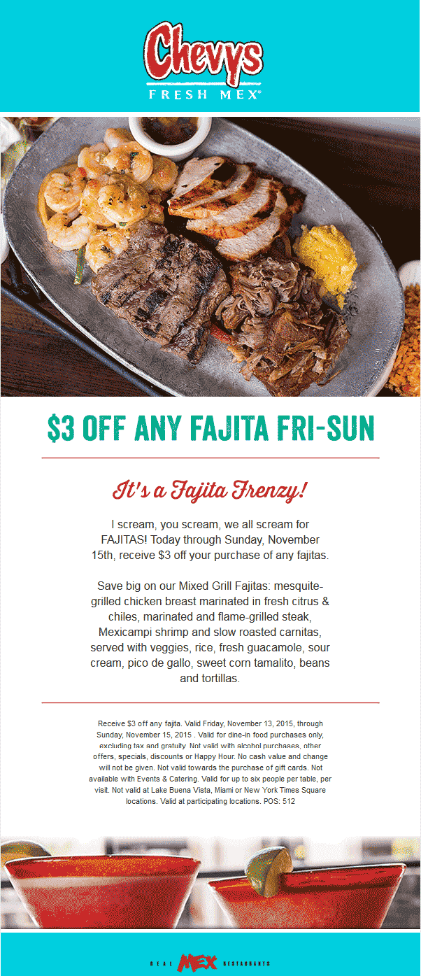 Chevys Fresh Mex Coupon June 2017 $3 off fajitas at Chevys Fresh Mex restaurants