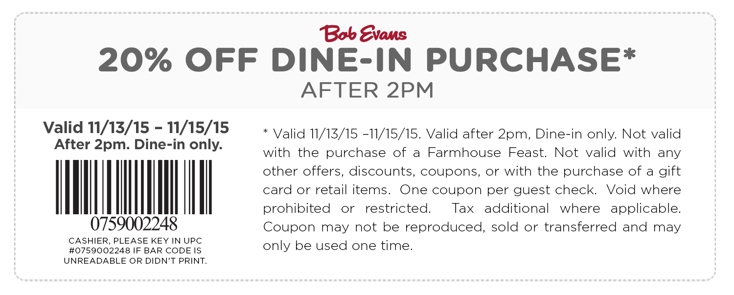 Bob Evans Coupon December 2018 20% off today at Bob Evans restaurants