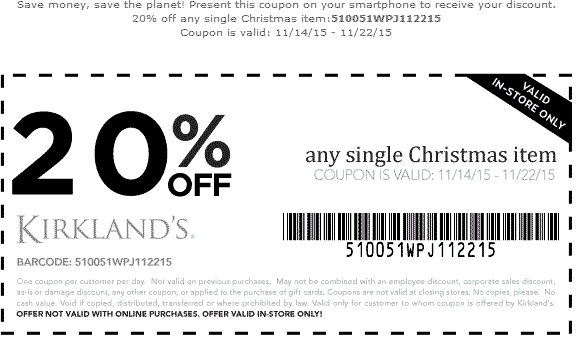 Kirklands Coupon August 2018 20% off a single Christmas item at Kirklands