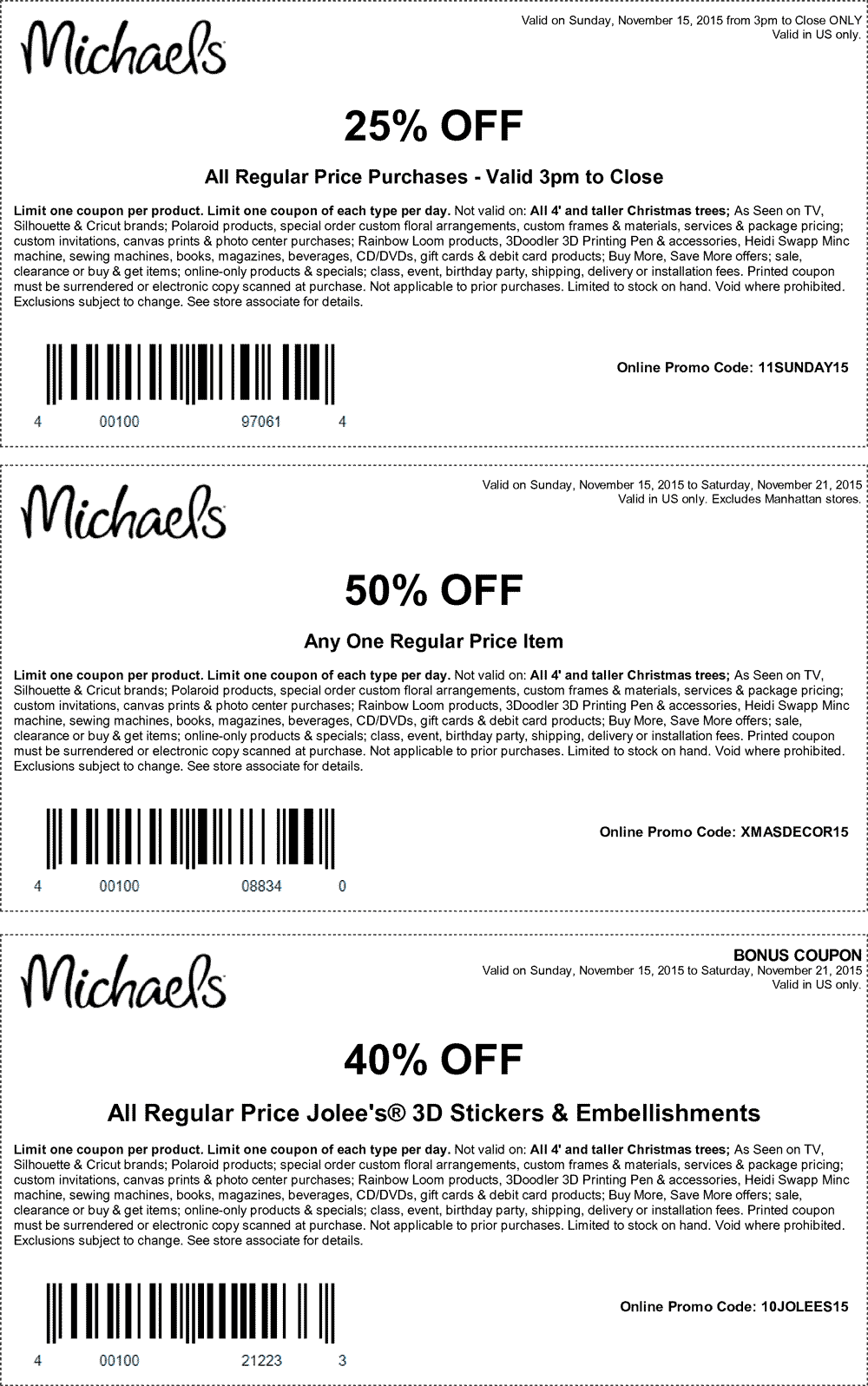 Michaels Coupon May 2017 50% off a single item at Michaels, or online via promo code XMASDECOR15