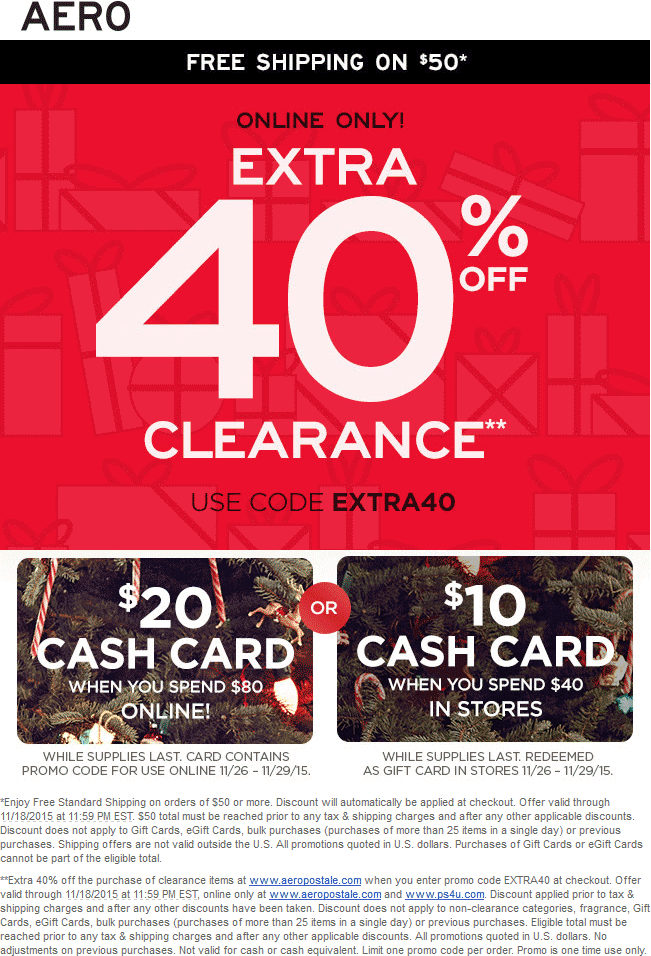 Aeropostale Coupon February 2017 Extra 40% off clearance online at Aeropostale via promo code EXTRA40