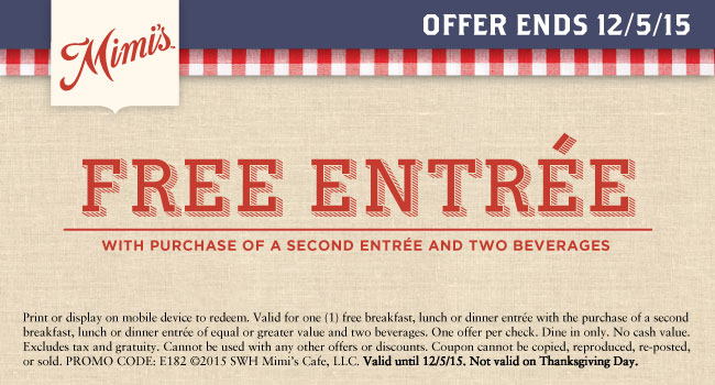 Mimis Cafe Coupon November 2018 Second entree free at Mimis Cafe