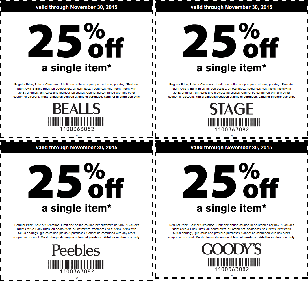Bealls Coupon December 2016 25% off a single item at Bealls, Goodys, Peebles & Stage stores