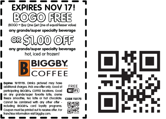Biggby Coffee Coupon July 2017 Second coffee free today at Biggby Coffee