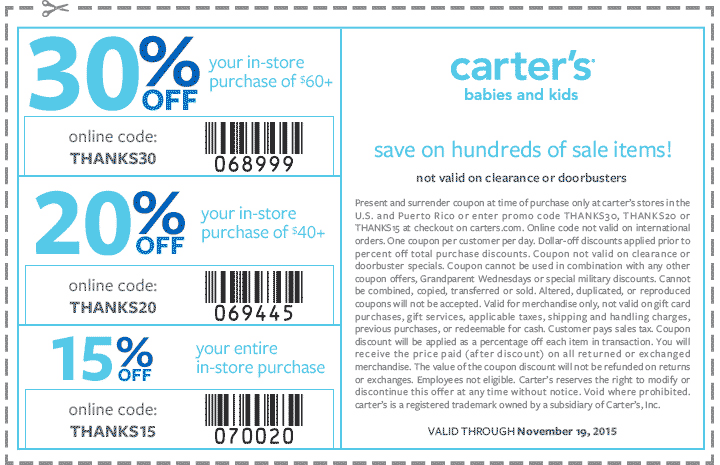 graphic regarding Carters Printable Coupons referred to as Carters Promo Codes Discount coupons for February 12222