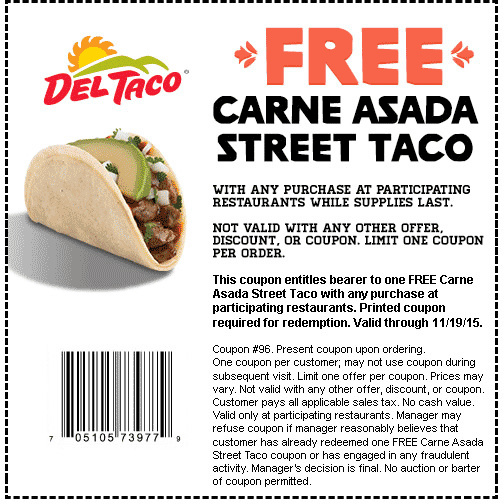 Del Taco Coupon March 2017 Carne asada taco free with any order at Del Taco