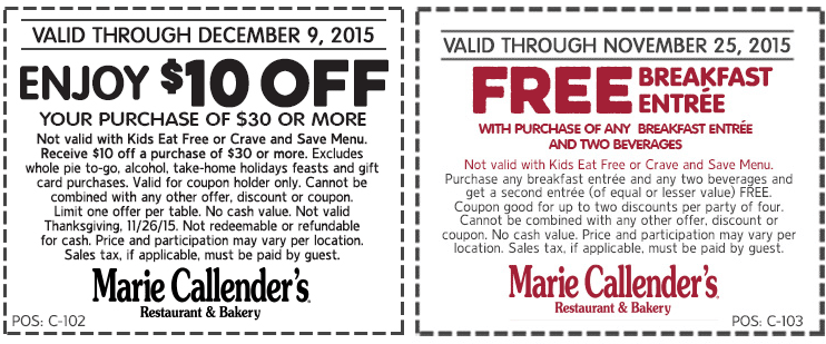 Marie Callenders Coupon December 2016 Second breakfast free or $10 off $30 at Marie Callenders restaurant & bakery