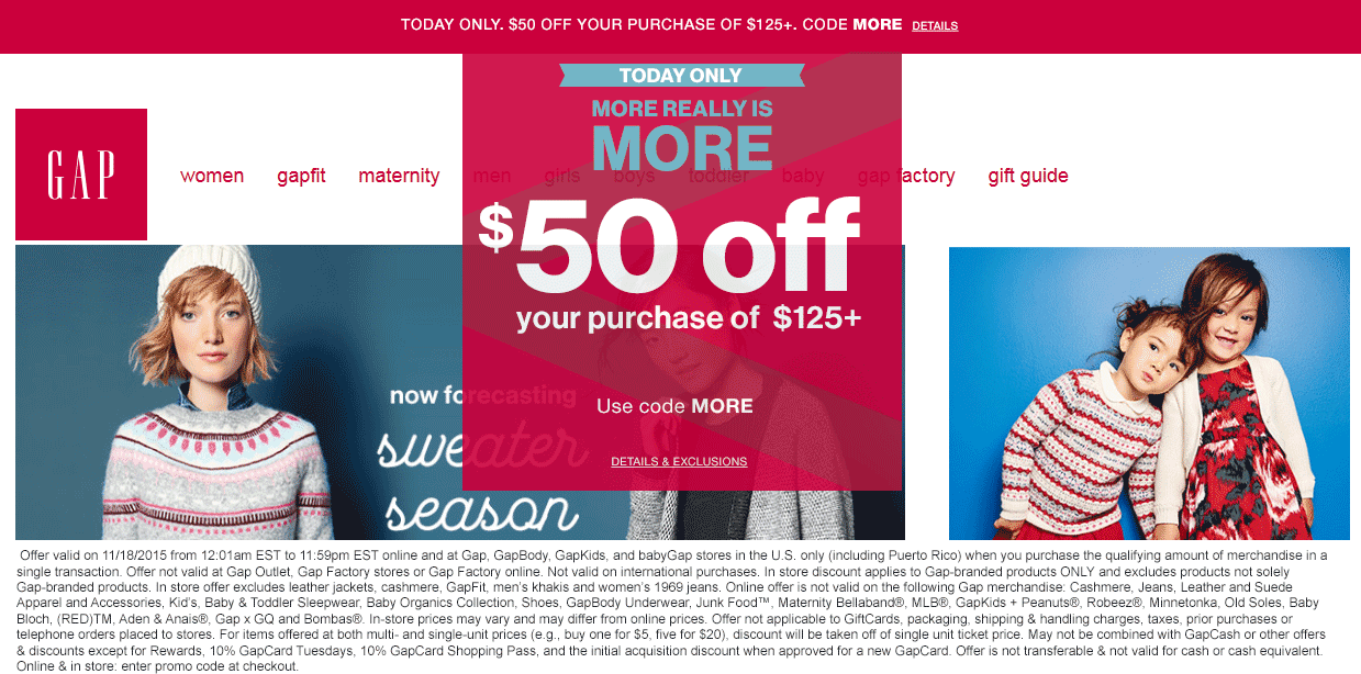 Gap Coupon December 2016 $50 off $125 today at Gap, GapBody, GapKids, and babyGap stores, or online via promo code MORE