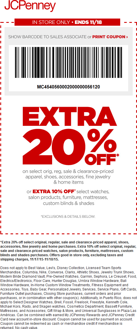 JCPenney Coupon November 2018 Extra 20% off at JCPenney