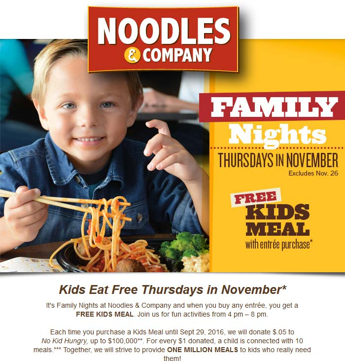 Noodles & Company Coupon March 2017 Kids eat free Thursday at Noodles & Company
