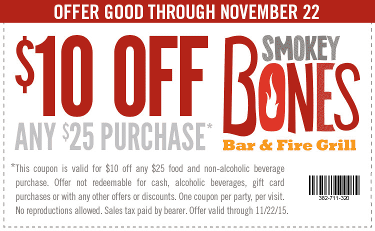 Smokey Bones Coupon December 2017 $10 off $25 at Smokey Bones bar & grill