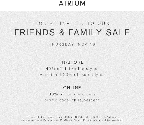 Atrium Coupon May 2018 40% off today at Atrium, or 30% online via promo code THIRTYPERCENT