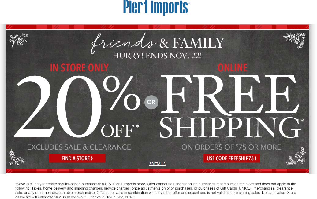 Pier 1 Coupon August 2017 20% off the tab at Pier 1 Imports