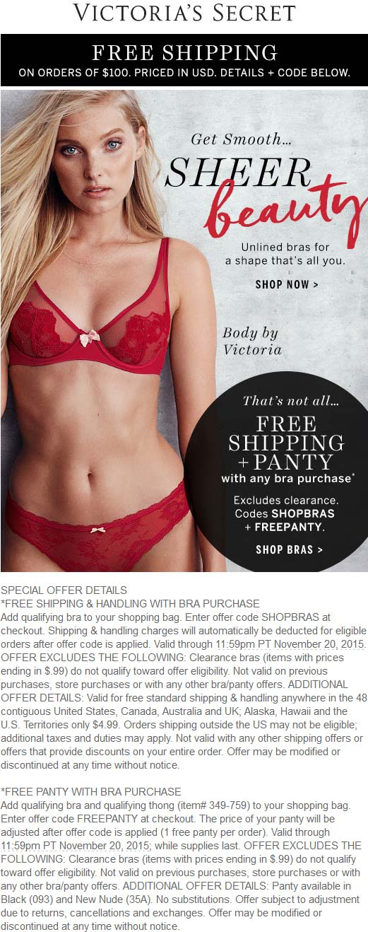 Victorias Secret Coupon August 2019 Free panty & shipping with your bra at Victorias Secret via promo code SHOPBRAS + FREEPANTY