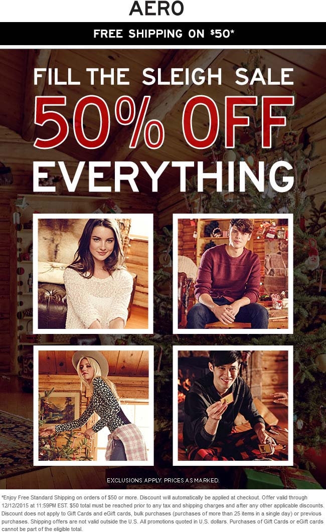 Aeropostale Coupon August 2018 50% off everything at Aeropostale, ditto online