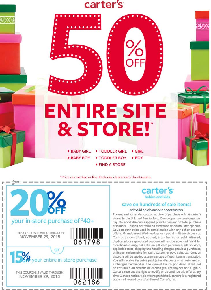 Carters Coupon April 2018 Extra 50% off everything + another 15-20% off at Carters