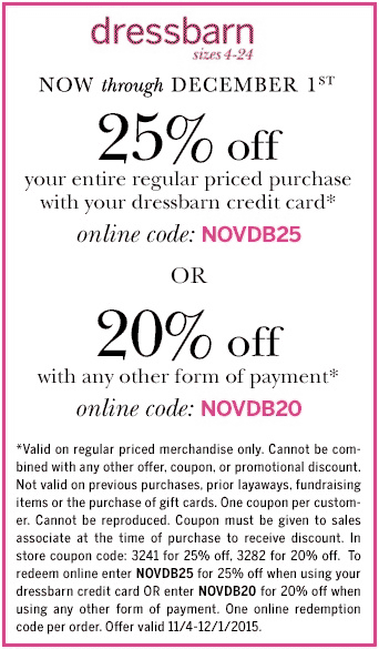 Dressbarn Coupon October 2016 20% off at Dressbarn, or online via promo code NOVDB20