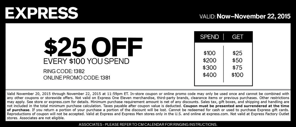 Express Coupon November 2017 $25 off every $100 at Express, or online via promo code 1381