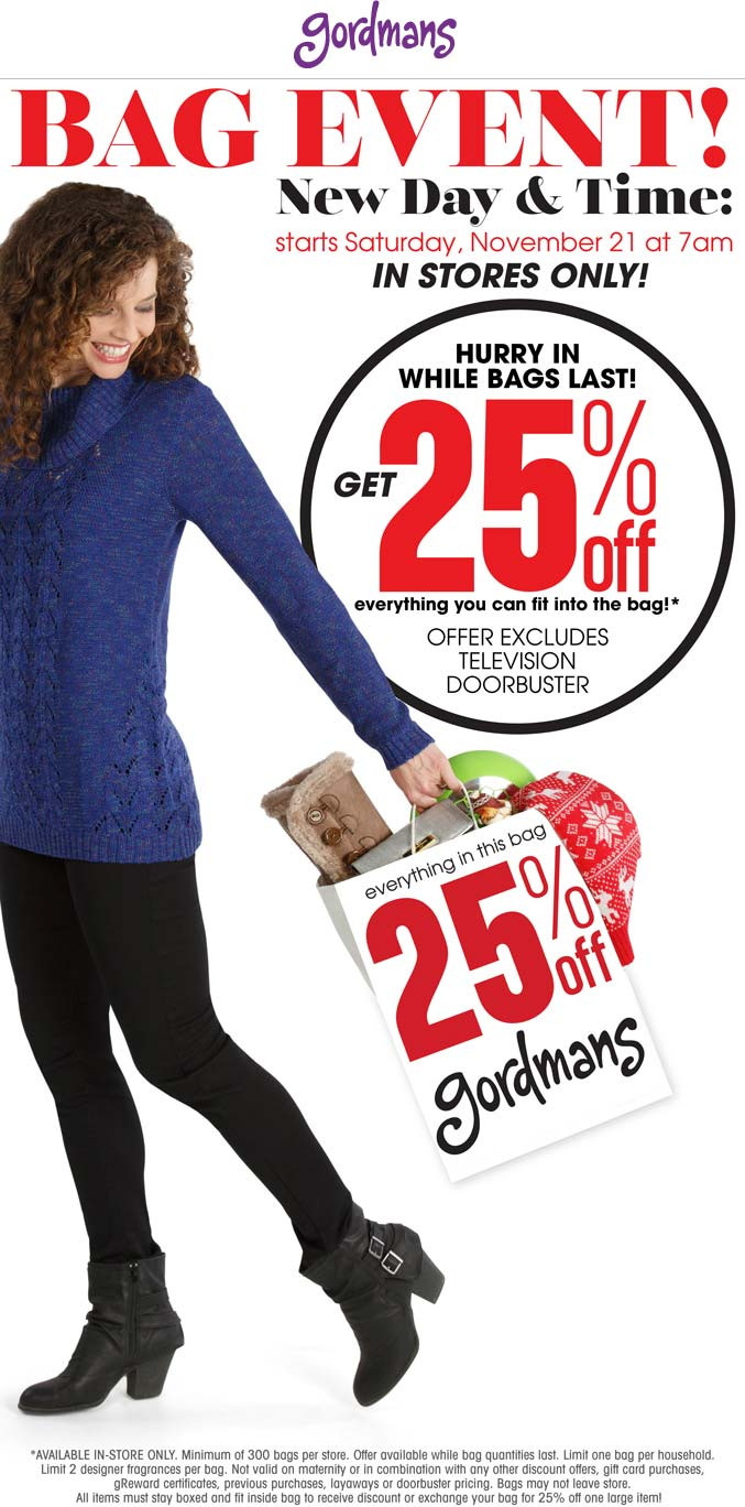 Gordmans Coupon December 2019 25% off whatever fits in the bag at Gordmans